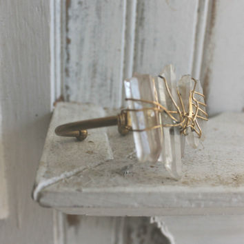 Verve Jewelry Xanadu Multi Raw Quartz Brass Cuff