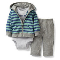 Carter's Boys 3 Piece 'Handsome' Set with Striped Hooded Zip Up Cardigan, Short Sleeve Bodysuit, and Pant