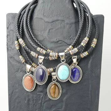 12 Elegant Embroidered Leather Chokers With Pendant (Unit Price $ 9.50) 6 Different Pendant Bead Colors