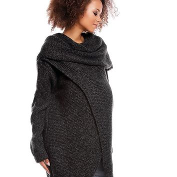 Maternity & Nursing Knitted Wrap Sweater Graphite