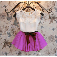 Children Clothing Girls 2pcs Sets Kid Short Sleeve Lace T Shirt Tops + Bow Pleated Skirt Outfit Kids Girl Sweet Outfits High quality.