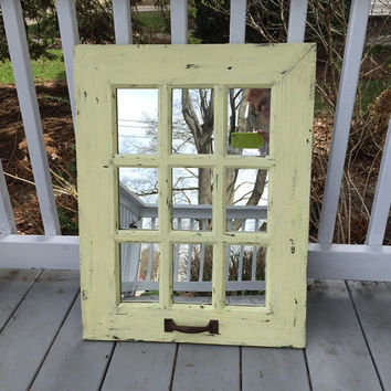 Large mirror rustic window mirror, distressed light yellow, 9 panel
