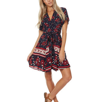 THE HIDDEN WAY FLORAL BORDER WRAP DRESS - FLORAL BORDER PRINT
