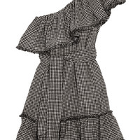 Zimmermann - One-shoulder gingham linen and cotton-blend mini dress