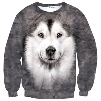 Siberian Husky Puppy Face All Over Print Unisex Pullover Sweater | Gifts for Dog Lovers