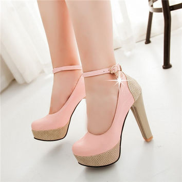 Ladies Shoes Femal Patent Leather Round Toe Thin High Heel Platform Buckle Ankle Strap Pumps Dress Shoes Plus Size Alternative Measures - Brides & Bridesmaids - Wedding, Bridal, Prom, Formal Gown