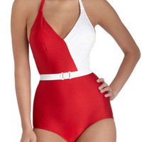 Esther Williams Splice of Life One Piece in Red | Mod Retro Vintage Bathing Suits | ModCloth.com