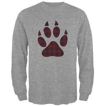 Autumn Buffalo Plaid Bear Claw Paw Mens Long Sleeve T Shirt