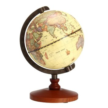 "5.5"" Vintage Desktop Table Rotating Earth World Map Globe Antique Geography Home Decor Gift"