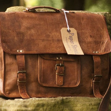 Steampunk Laptop Bag Leather Messenger Bag by steampunkgifts