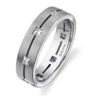 Eternity diamond ring for men 6mm wide in Palladium 0.55 cts Princess cuts