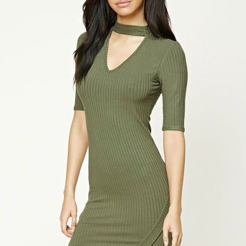 Ribbed Knit V-Neck Dress