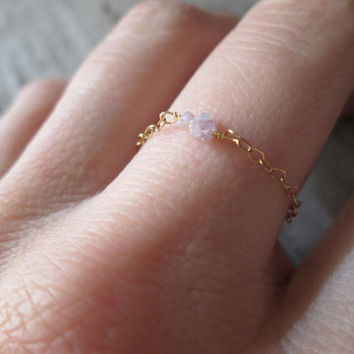 Pink Rough Diamond Chain Ring - Gold Filled April Birthstone Anniversary Promise Engagement