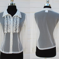White Lace Shirt Ruffled Front Button Down Nouveau T's Dot Lace Blouse Sz M