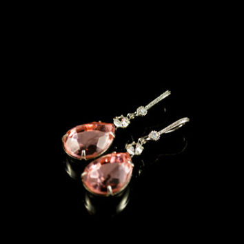 Crystal Earrings. Vintage Pear Stone & Swarovski Crystal Teardrop Earrings. Pink Stone Dangle Earrings. Bridal Earrings. Bridesmaid Gift
