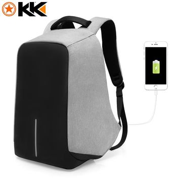 KAKA Anti theft USB Charging 15 Inches Laptop Backpack for Men Women Backpacks Fashion Black School Bags Mochila Masculina