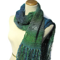 Valentines Day Peacock Hand Knit Scarf - Turquoise Green