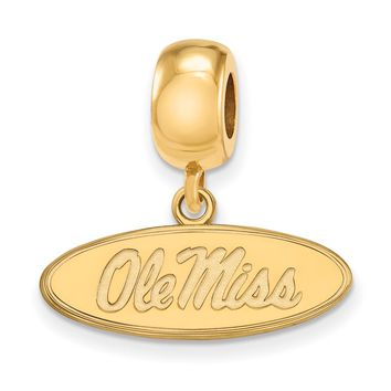 NCAA 14k Gold Plated Silver Univ. of Mississippi 'Ole Miss' Charm Bead