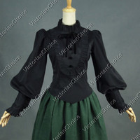 Ladies Victorian Black Gothic Shirt Blouse Steampunk Punk Theater Clothing B187