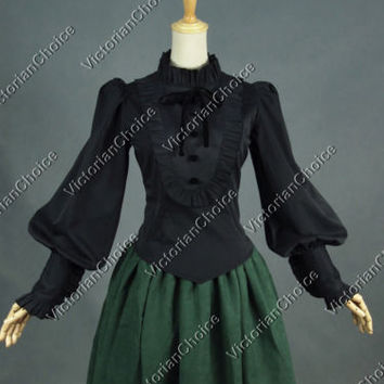 Victorian Black Gothic Women Shirt Blouse Steampunk Witch Halloween Costume B187