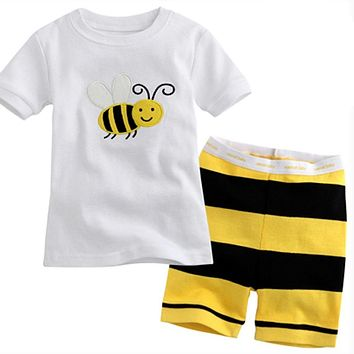 Fashion Children's pajamas set baby Girl's clothing set animal super men cotton Boy's pajamas Children Sleepwear