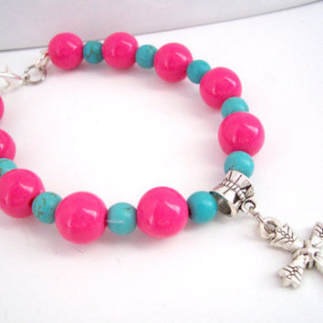 Silver Cross Charm Bracelet, Christian Cross Charm Bracelet, Teen Bracelet, Cross Bracelet, Hot Pink and Turquoise Jewelry