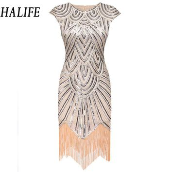 HALIFE 2017 Fashion Women Retro Flapper Dress Tassel 1920s Gastby Wedding Party Midi Office Sequin Dress Vintage Robe Femme 915