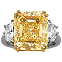 10.75 Carat Emerald-Cut Yellow Diamond Ring