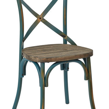 Office Star Somerset X-Back Antique Turquoise Metal Chair with Hardwood Rustic Walnut Seat Finish [SMR424WAS-ATQ]