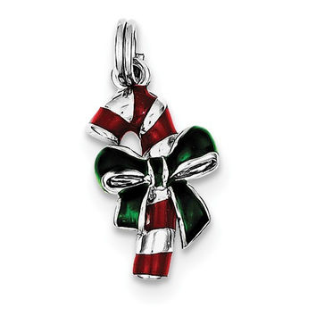 Sterling Silver Rhodium-Plated Enamel Candy Cane Charm