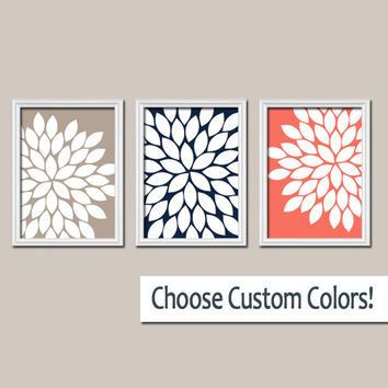 Navy Coral Wall Art Canvas Mocha Brown Artwork Flower Burst Dahlia Bloom  Set of 3 Trio Prints  Decor Bedroom Bathroom Three