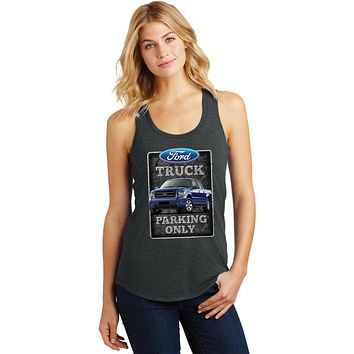 Ladies Ford Truck Tank Top Parking Sign Racerback