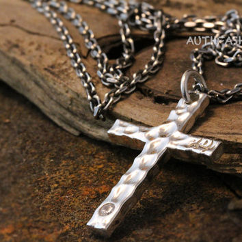 Mens Sterling Silver Hammered Cross Pendant Necklace Set Gift Idea Gothic Pendant