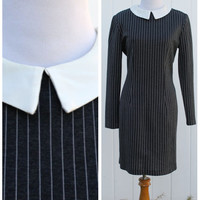 Vintage 90s Retro Gray Pinstriped Peter Pan Collar Mini Dress//Clueless Style