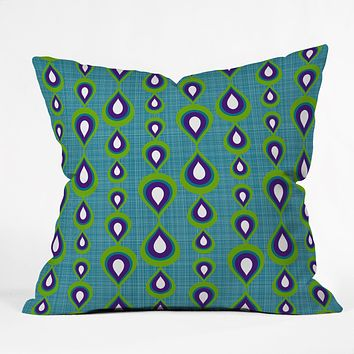 Sharon Turner Peacock Mod Drops Throw Pillow