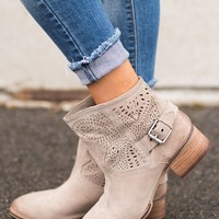 Rigby Naughty Monkey Moto Booties (Taupe)