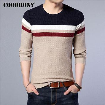 Knitted Cotton Sweater Men Winter Warm Slim fit Pull Home Casual Striped O-Neck Pullover Men Wool Sweaters