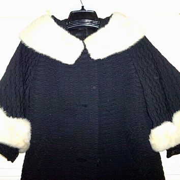 Vintage Black Wool Coat w/Beige Mink Collar & Cuffs - Beautiful!