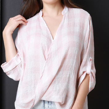 Draped Deep V Gingham Print Top