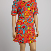 Pink & Blue Circles Shift Dress - Plus
