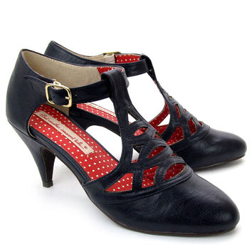 Navy Art Deco Heiress T-Strap Heels
