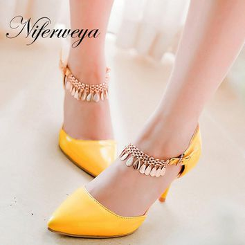 Sexy Spring/Autumn Pointed Toe women shoes big size 30-47 Chains decoration Buckle Strap Thin Heel high heels fashion sandals