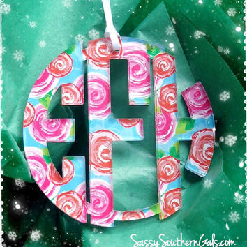 Monogram Acrylic Ornament, Mary Beth Goodwin Patterns, Lilly Pulitzer Inspired