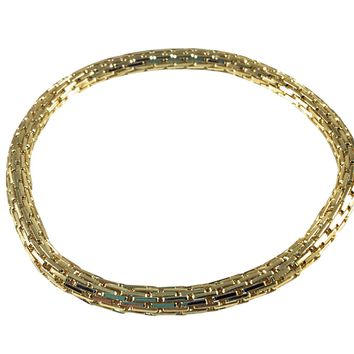 12K Gold Filled Mesh Chain Stretch Bracelet (Gold 4mm Rectangle Bar Links)