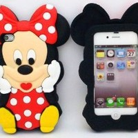 Minidandan3d Cute Cartoon Mouse Micky Protective Silicone Gel Case Covers for Apple Iphone 4 4s Case