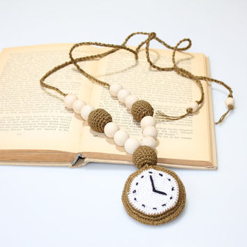 Crochet Pendant Watch / Nursing necklace / Teething necklace / Crochet Necklace for mom and child / Jewelry for Mom / Crochet sling necklace