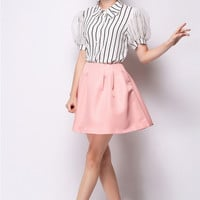 Striped Pointed Flat Collar Puff Mesh Sleeve Top with Mini A-Line Skirt Set