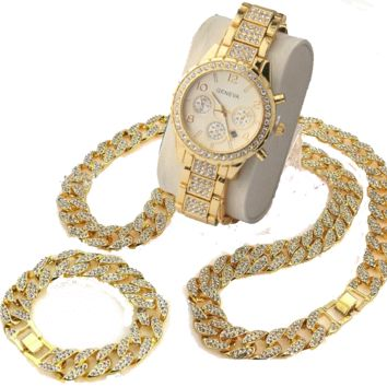 Techno Pave Iced Out Chain Bracelet Necklace and Watch Set