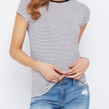 White Striped Crewneck Tee | Short Sleeve | rue21