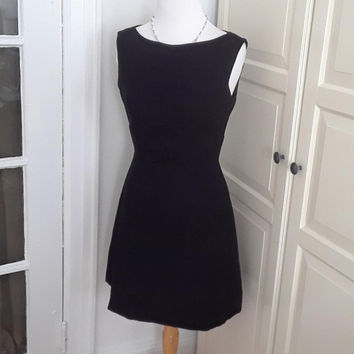 60s Black Crepe Cocktail Dress, Bows, Architectural Seaming, Size Small, 34B/28W